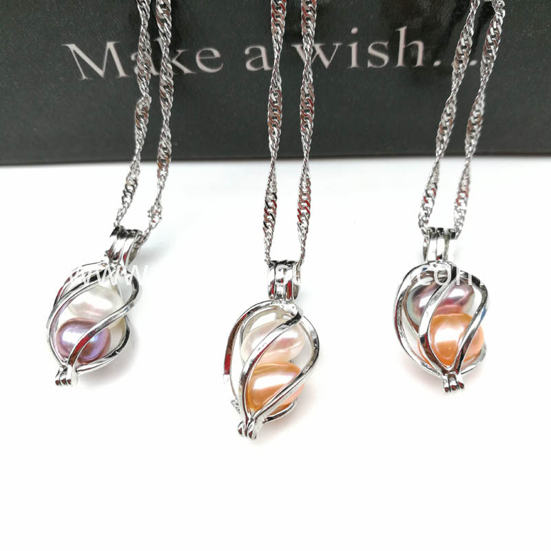 Twisted Cage Pendant With Water Wave Chain Necklace